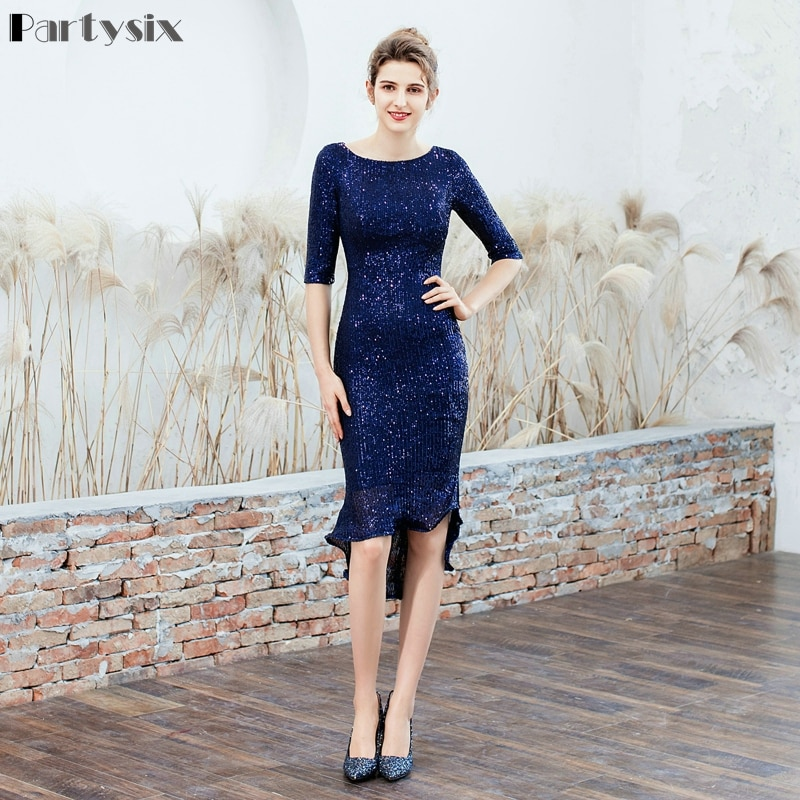 Partysix Women Half Sleeve Sequins Dress Elegant Party Dress With Belt 1