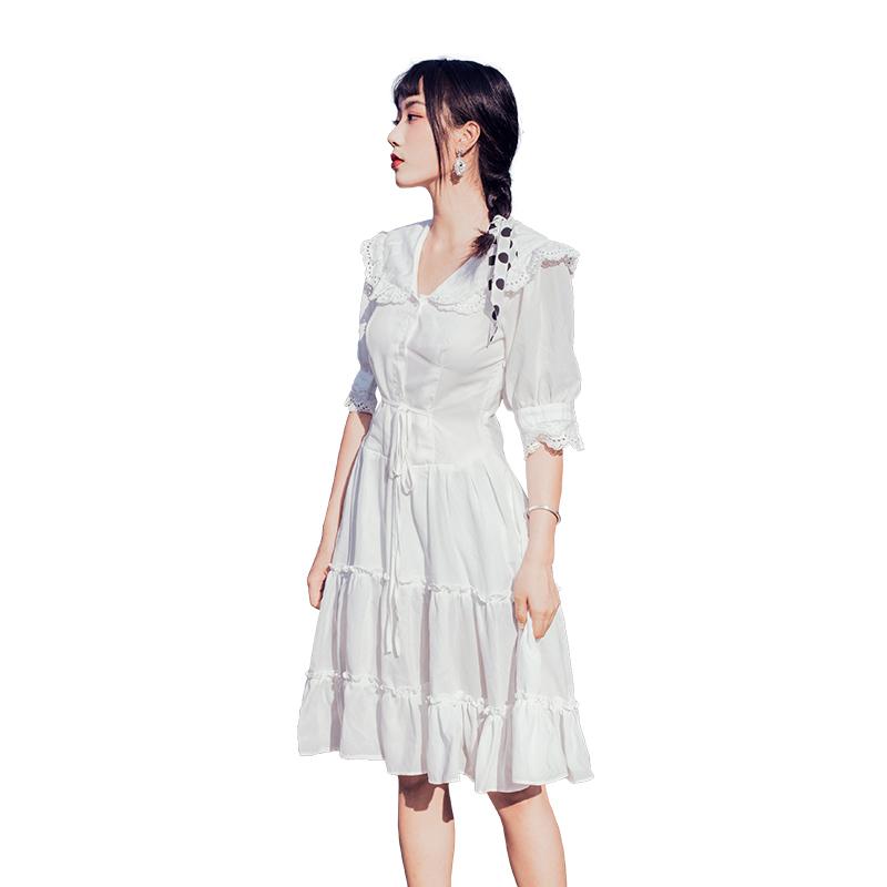 19 Summer New French Style Vintage Lace Side Elegant V Neck Half Sleeve White Dress Women Sundress Holiday Beach Dress Vestido