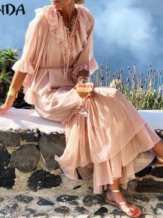 VONDA Solid Color Long Dress 19 Sexy V Neck Half Sleeve Vintage Dresses Beach Sundress Holiday Bohemian Vestidos Party Robe