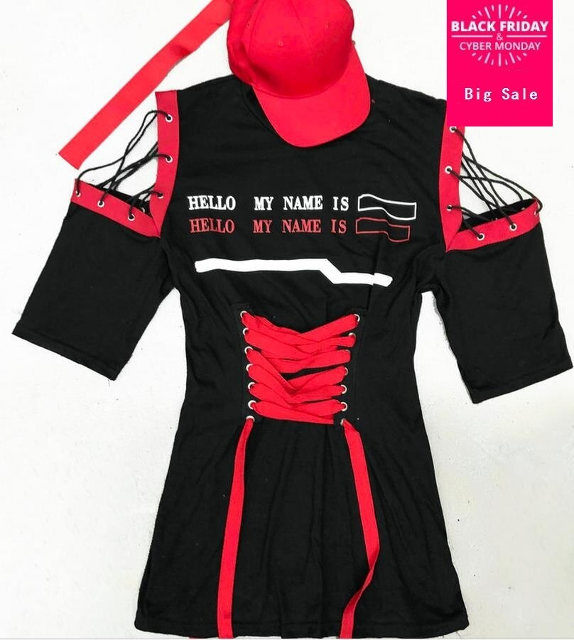 Women Dresses half Sleeves Lace up High Waist Tunics black red Especially Casual New dress 1