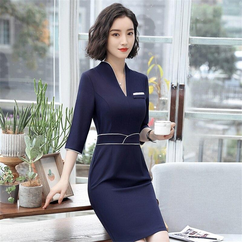 18 Summer Office Dresses For Women Elegant Business Half Sleeve Pencil Dress Ladies Casual Sretch Work Dresses D0176 2