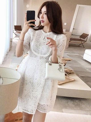 Princess Women's Dress 19 Summer Fashion Party Ladies O-Neck Bow Tie Elegant Half Sleeve Empire White A-Line Dress Above Knee