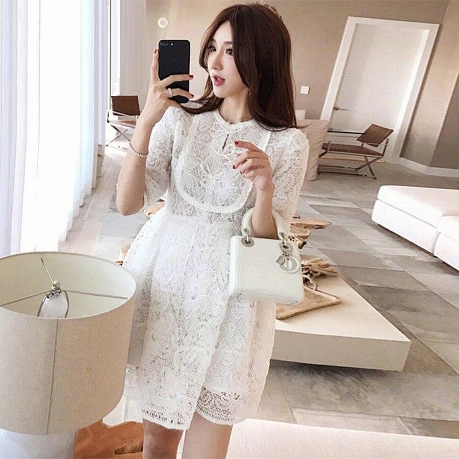 Princess Women's Dress 19 Summer Fashion Party Ladies O-Neck Bow Tie Elegant Half Sleeve Empire White A-Line Dress Above Knee