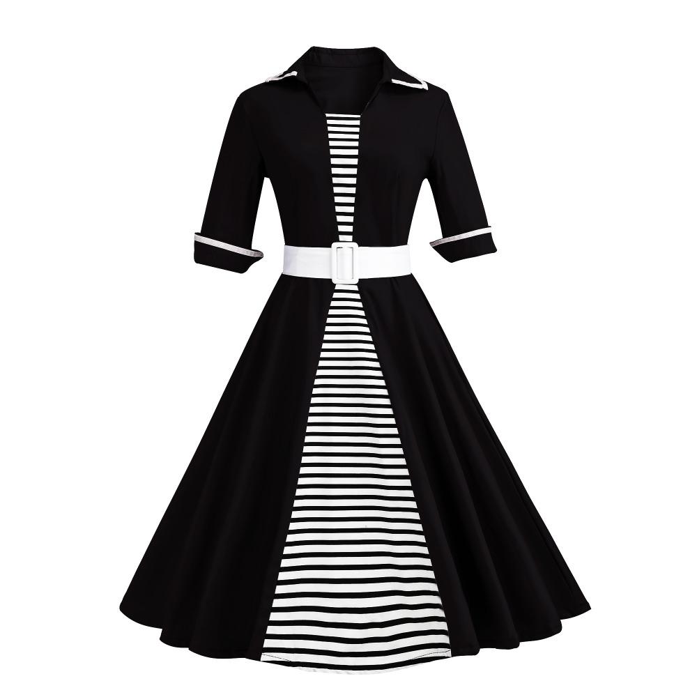 Autumn 4XL Plus Size 3XL Stripe Print Half Sleeves Lapel Vintage Dress 50's Audrey Retro Dresses Pattern Work Party Vestidos 3