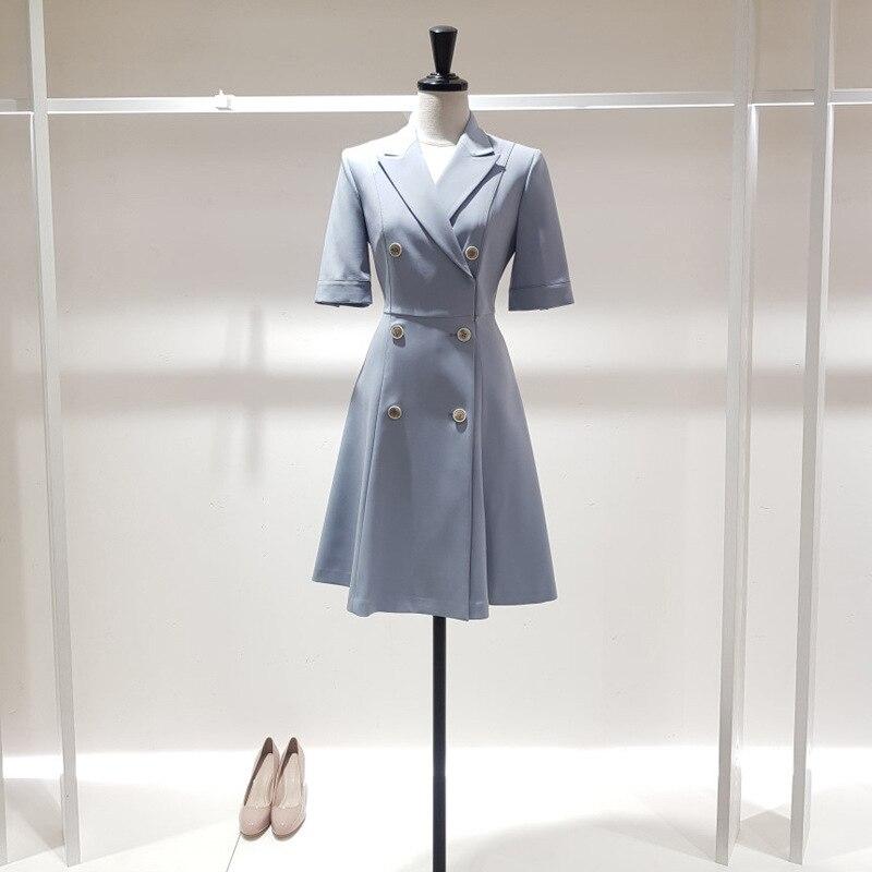 Half sleeve Women Dress Plaid Office Lady Knee-length Pleated Dresses Woman Fashion Elegant Double Breaste women's Clothing 2