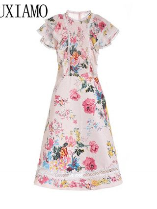 MIUXIMAO 19 New Fashion Runway Summer Dress Women's Retro Half Sleeve Flower Embroidery Star Vintage Dress Women vestidos