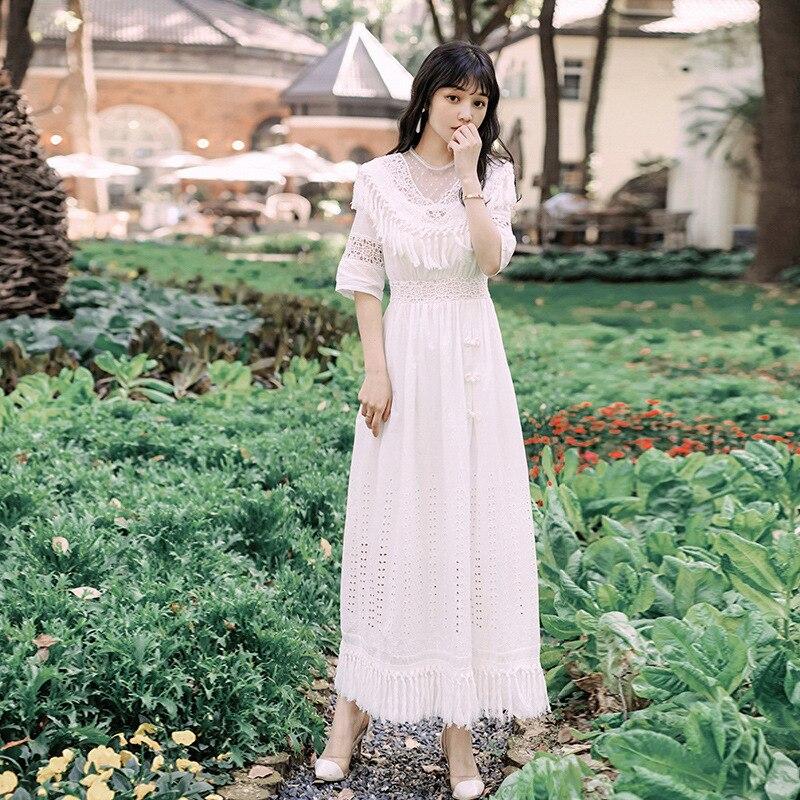 Foamlina Summer Women White Long Dress Sexy Dot Mesh Patchwork Half Sleeve Tassels Hollow Out Casual Female Beach Maxi Dress 2