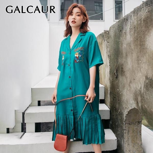 GALCAUR Summer Embroidery Women Dress Lapel Half Sleeve Oversized Button Pleated Shirt Dresses Female Fashion 19 Korean