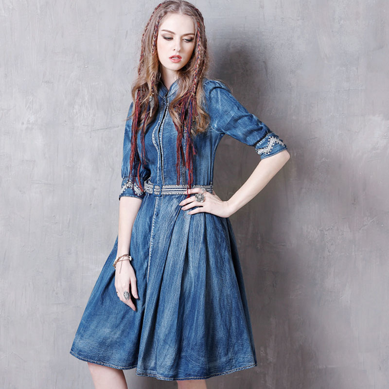 Summer Casual Vintage Women Designer Embroidery Sash Pleated Half Sleeve Denim Dress , 19 Woman Mandarin Collar Jeans Dresses