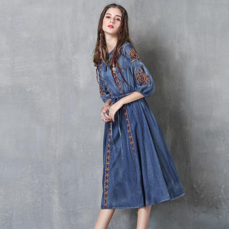 #2412 Autumn Embroidery Round Neck Denim Dresses Women Fashion Vintage Tie Waist Half Lantern Sleeve Washed Jeans Dress Tide 3