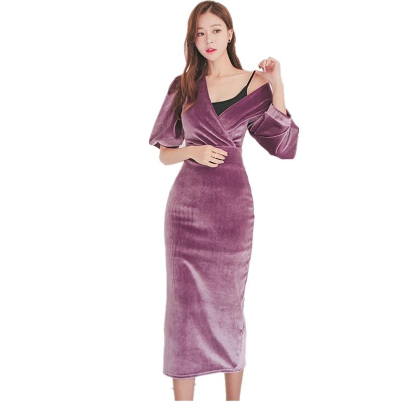 HAMALIEL High Quality Velvet Half Pull Sleeve Pencil Dress 19 Fashion Spring Women Sheath Bodycon OL Dress Slim Party Dress