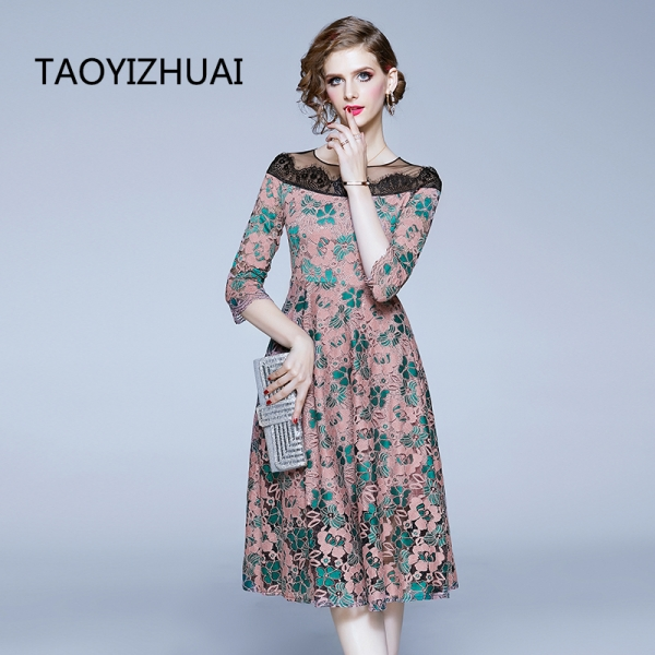 TAOYIZHUAI casual style women dress A-line nature waist rond neck half sleevs hollow out patchwork lady party fashion dress