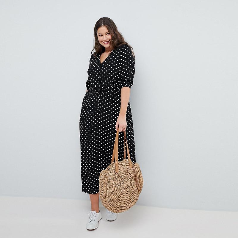 Kissmilk 19 Summer Office Polka Dot Vintage Autumn V-Neck Elegant Sundress For Women Plus Size Midi Half Sleeve Dress Female 3