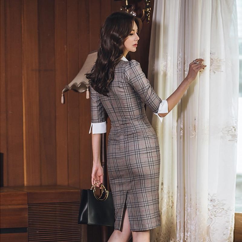 Autumn Notched Vintage Plaid Vestidos Bowknot Half Sleeve Knee-Length Bodycon Pencil Office Work Cloth Dress 2