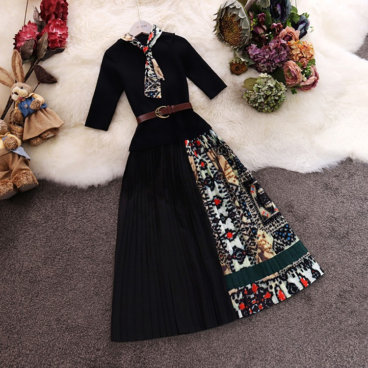 Trendy Women Round Collar with Scarf Decoration Patchwork Knotted Cotton Chiffon Pleated Half Sleeve Dress