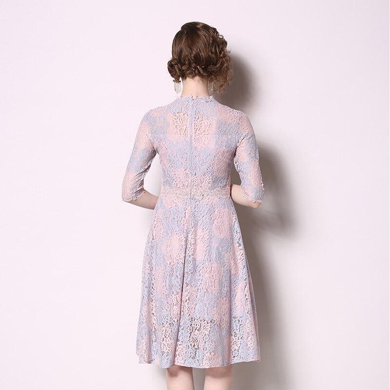 SMTHMA 19 New High-end Lace Dress Women Summer Half Sleeve Dresses Elegant Party Vestidos 3