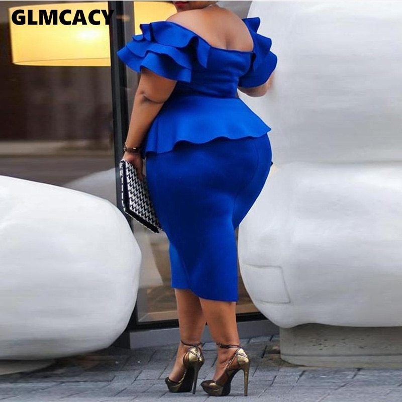 Women Sexy Slash Neck Half Sleeve Dress Summer Casual Solid Butterfly Sleeve Mid-calf Ruffled Bodycon Fashion Dress 2