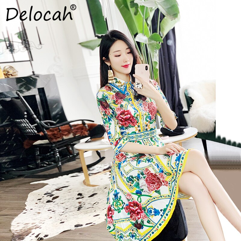 Delocah 19 Women Spring Summer Dress Runway Fashion Designer Half Sleeve Floral Print Beading Asymmetric Slim Elegant Dresses 1
