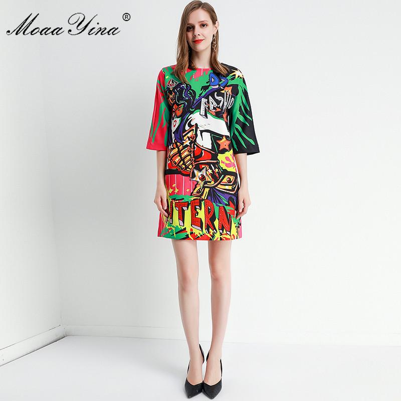 MoaaYina Fashion Designer dress Spring Summer Women's Dress Half sleeve Beading Angel letter Print Dresses 3