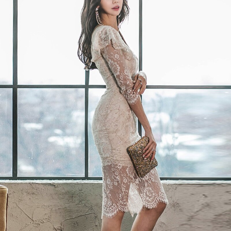 WAVSIYIER women half sleeve dress female korean sexy party club lace dresses high waist pencil dress midi runway elegant vestido 3
