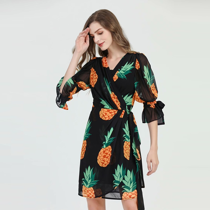 HIGH QUALITY  Newest Runway Dress Women's Half Sleeve Pineapple Print Casual DRESS 1