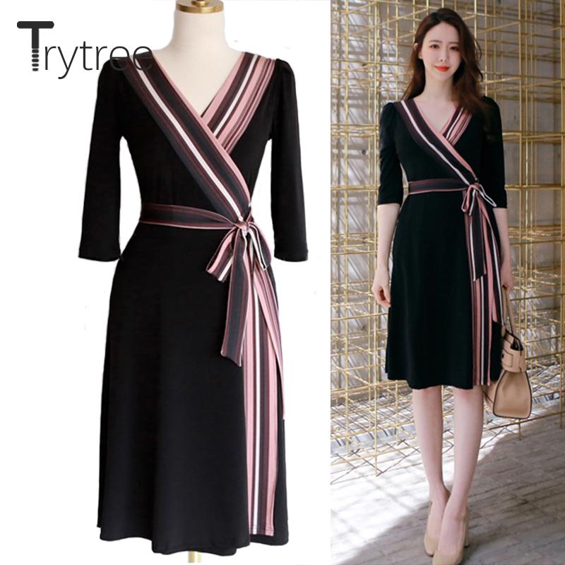Trytree Summer Autumn Dress Women Casual 18 shirt Polyester Black A-Line Half Sleeve Dresses Black Chiffon dress kyliejenner 1