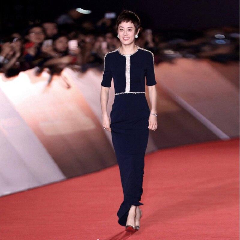 New 18 Celebrity Inspired Party Evening Women Summer Long Dress Crystal Beading Half Sleeve Back Split Elegant Formal Dress OL 3