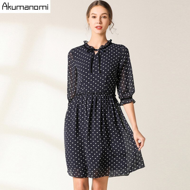 Vintage Party Women Dress Casual Elegant Half Sleeve Polka Dot Dress Solid Short Spring Summer Chiffon Dress Vestidos Plus Size