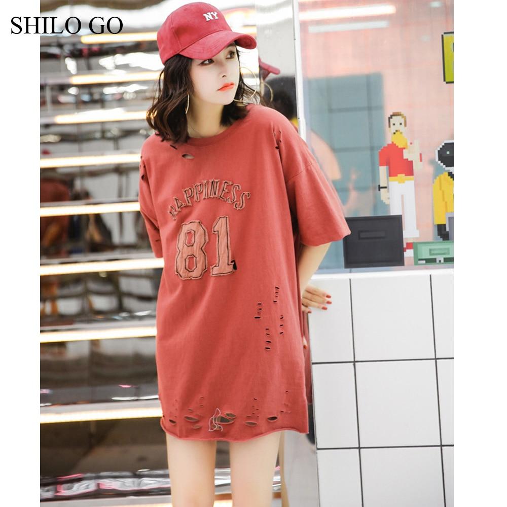 SHILO GO dress Womens Summer Fashion Concise Casual O Neck half Sleeve dress casual loose hole letter print dark color dress 2