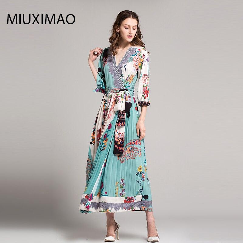 18 High Quality Spring&Fall Dress Newest Cute Style V-Neck Half Sleeve Flower Print Elegant Dress Women 3