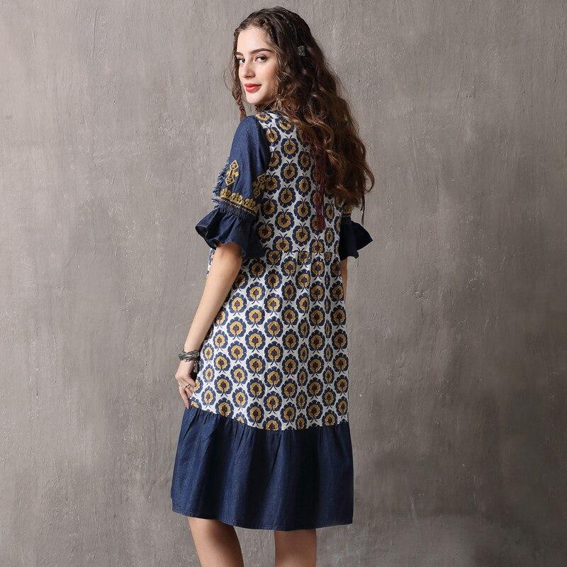 Vintage Patchwork Summer Dress 18 Boho Denim Vestidos Floral Print A line Half sleeve Swing Hem Layered Women Dresses 892 3