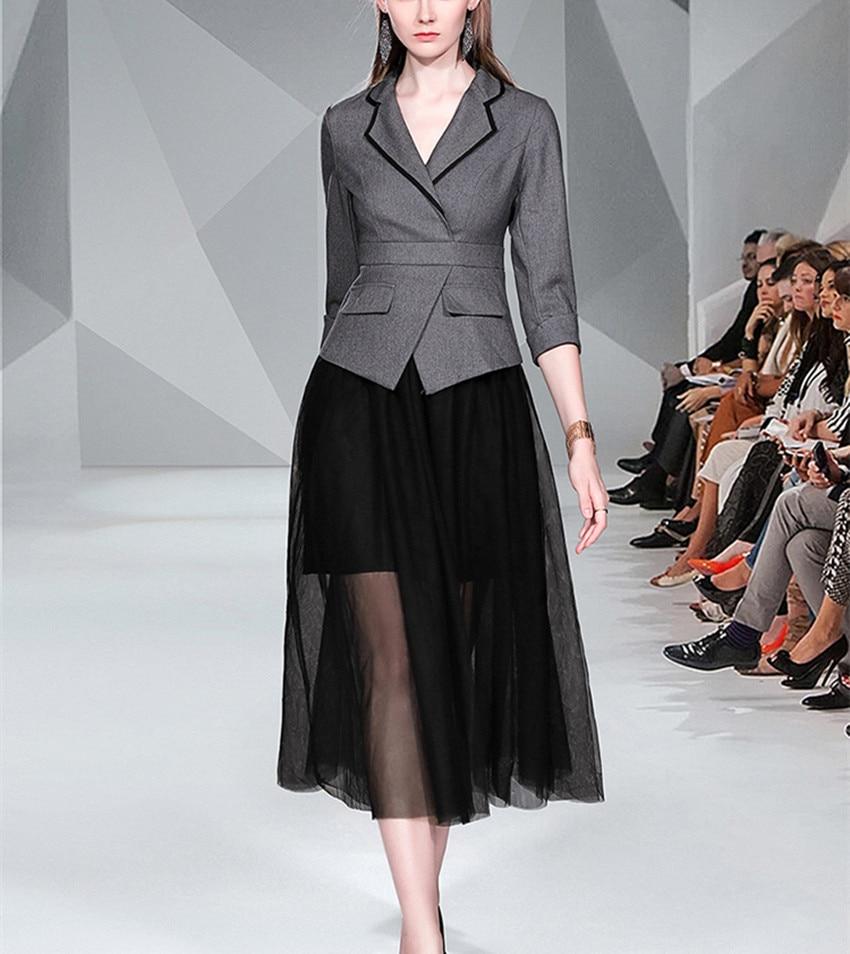 Spring Autumn Office Ladies Long Dress Runway Women's Gray Black Patchwork Mesh Half Sleeve Dress Notched Casual Work Vestidos 2