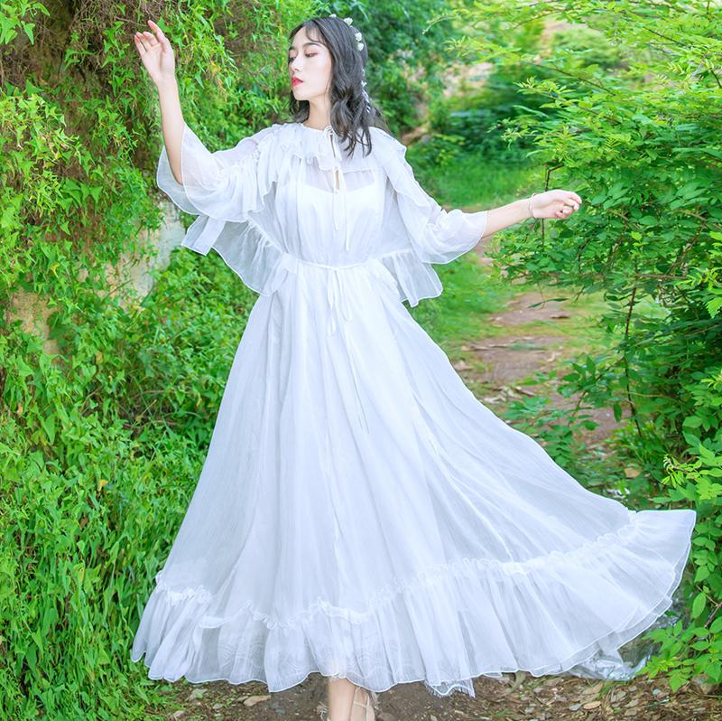Women New Fashion Fairy White Dress Lace-up Collar Ruffles Half Sleeve Chiffon Long Dress Vestidos Mujer Robe Femme 19 2