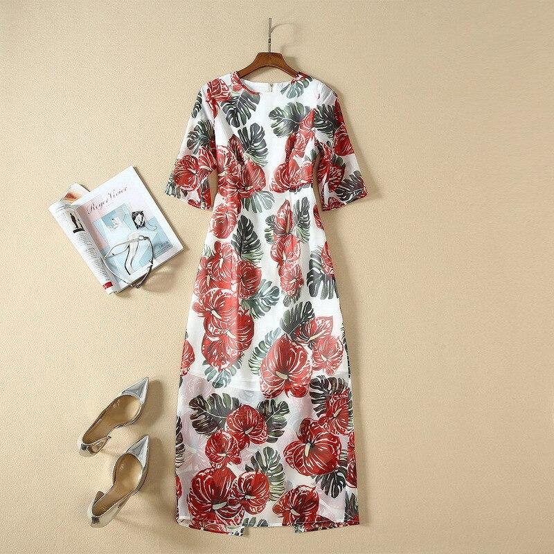Spring summer runways floral print half sleeves dress high quality women's elegant dress B9 2