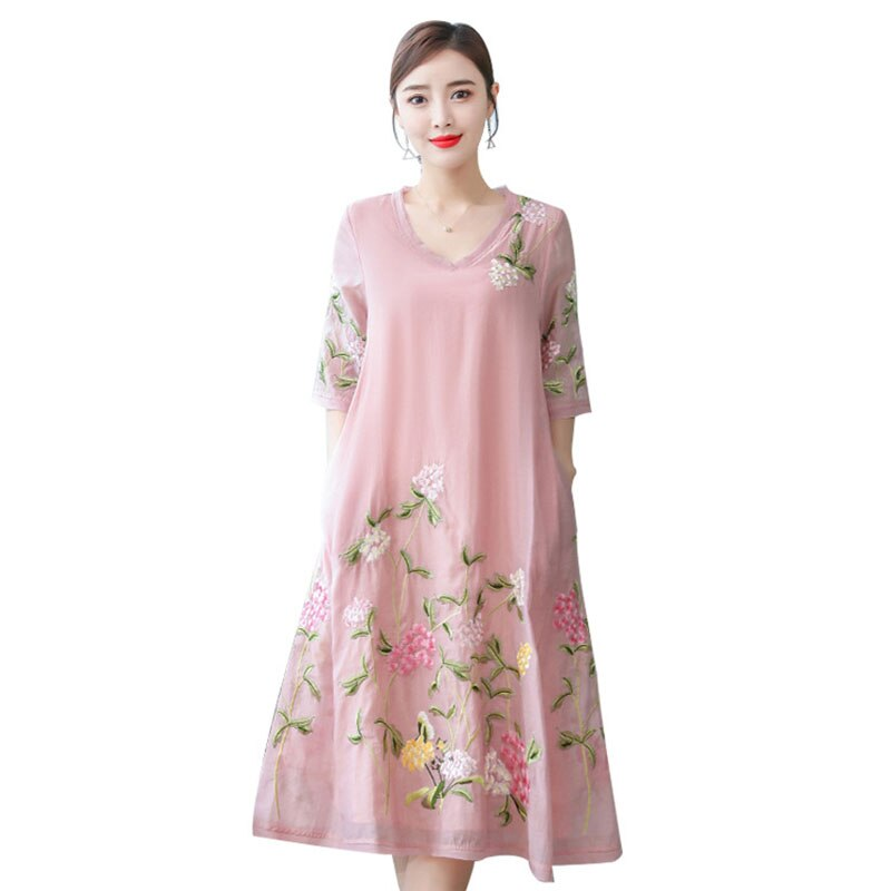 19 New National Style Women Vintage Embroidery Dresses Fashion Sweet Plus Size Half Sleeve Female Dresses Casual Loose Dresses