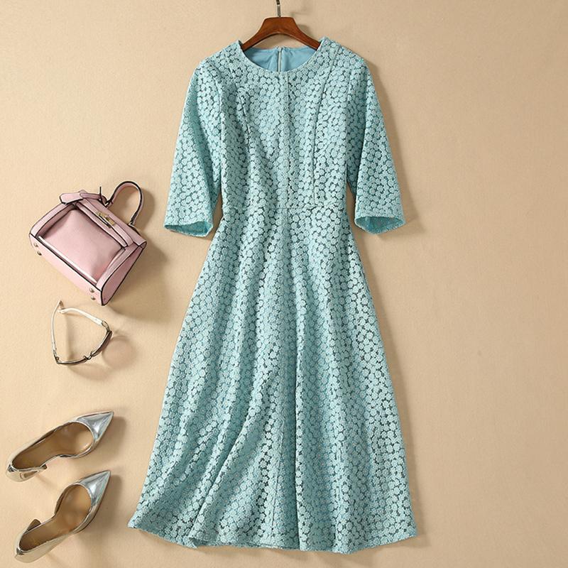 HIGH QUALITY Newest Fashion 19 Designer Runway Dress Women's Half Sleeve Embroidery Dress 1