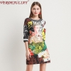 VERDEJULIAY High Street Design Runway Print Letter A-Line Dresses Spring New Elegant Half Sleeve Luxury Pearls Mini Dress
