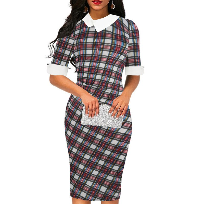 Fmasuth Plaid Dresses for Women Half Sleeve Knee Length Office Business Elegant Office Clothing Dress ox276-1