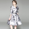 Chinese Style Print Floral Dresses Women Half Sleeve V-neck Big Swing A-Line Dress Ladies Spring Summer Slim Dress YP2246
