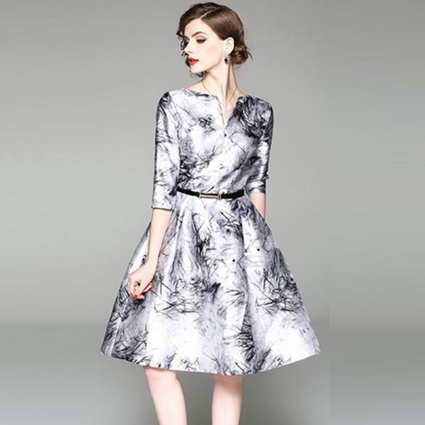 Chinese Style Print Floral Dresses Women Half Sleeve V-neck Big Swing A-Line Dress Ladies Spring Summer Slim Dress YP2246