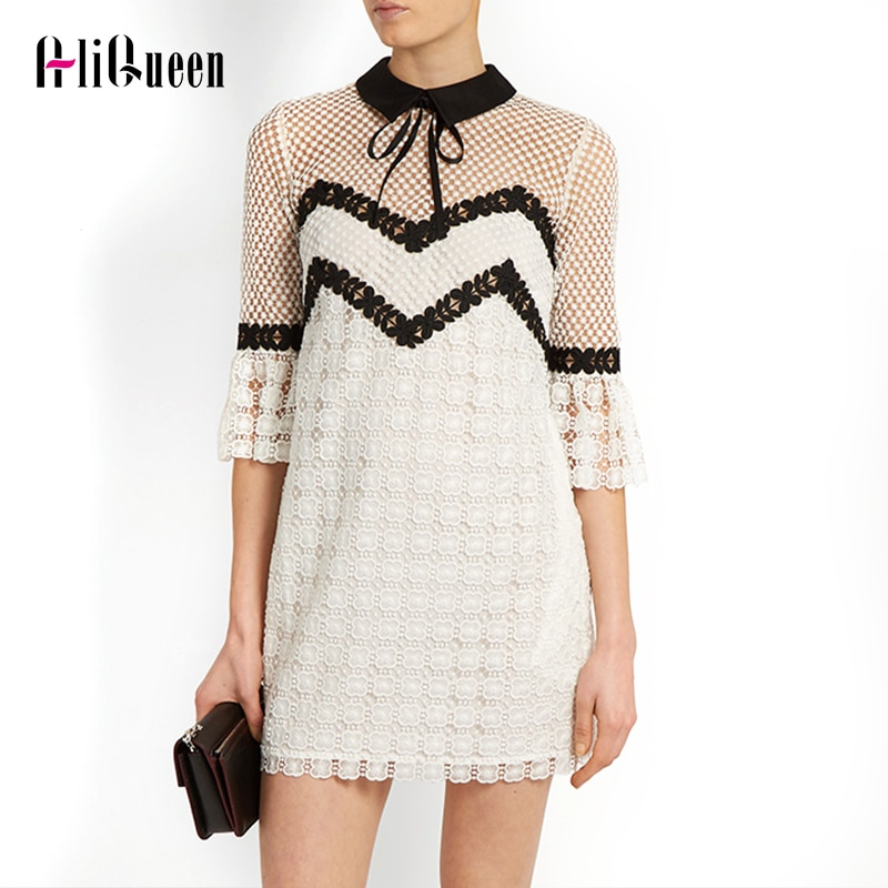 Summer 19 Self Portrait Dress Half Flare Sleeve Bow Turn-down Collar Runway White Lace Patchwork Hollow Out Sexy Party Dress 1