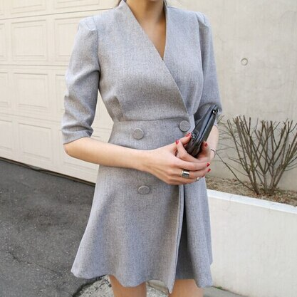 spring women work OL temperament dress simple double-breasted V-neck dress solid color half sleeve dress 2