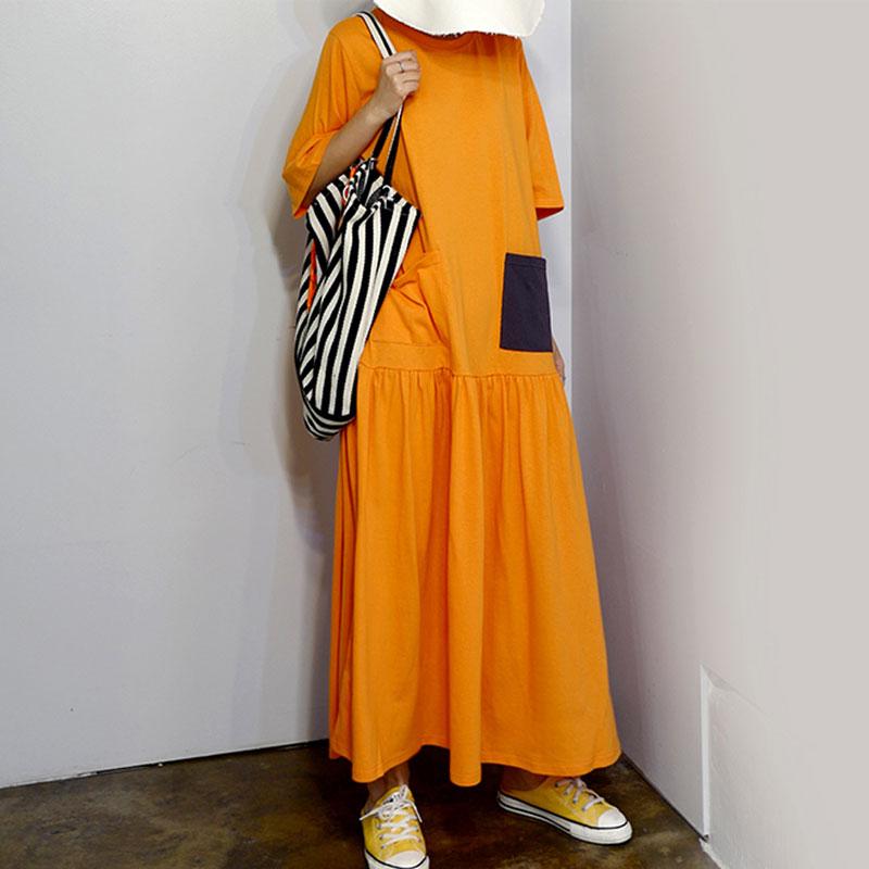 RealShe Women Maxi Dress O-Neck Short Sleeve Loose Long Dress Elegant Spring Casual Women Dress  Summer Dresses Casual 3