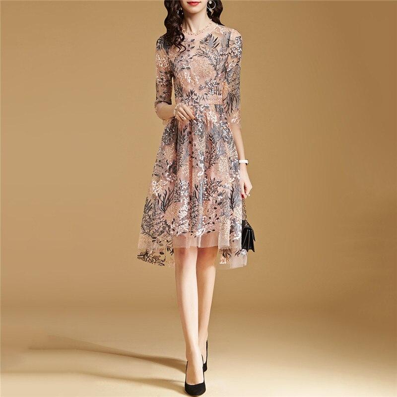 Lace Dress Pink S-2XL 19 New Spring Korean High Waist Slim A Line Dress Embroidery Mesh Half Sleeve Party Dress Vestidos CX816 1
