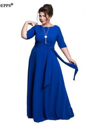 19 Autumn 5XL 6XL Plus Size Women Dress Big Size Winter Long Dress Belt Maxi dress Half Sleeve Elegant Evening Party Vestidos