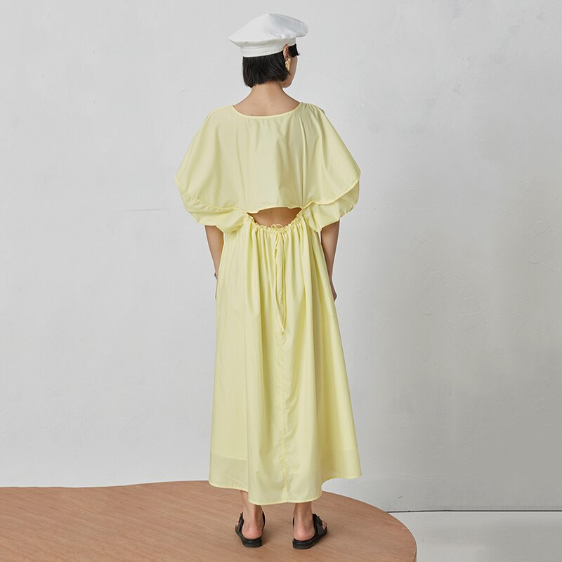 TVVOVVIN 19 New Spring Summer Round Neck Half Lantern Sleeve Yellow Hollow Out Loose Drawstring Dress Women Fashion Tide D113 2
