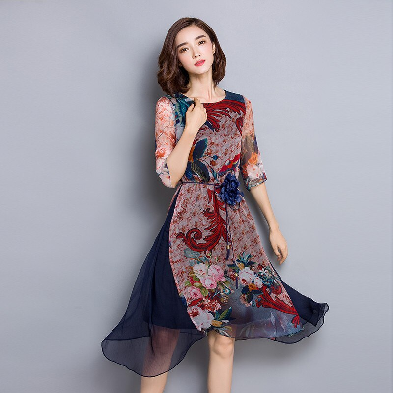 O-neck High Quality Vestidos Vintage Dress Floral Print Silk Dress Half Sleeve Loose Summer Dresses Casual Women Clothing FYY341 2