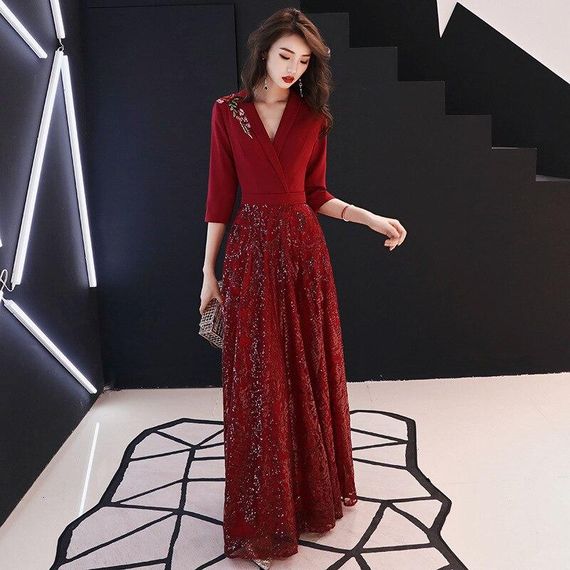 19 New Autumn Winter Dress Half Sleeve Temperament Red Dress Female Sexy V-neck Shoulder Embroidery Women Dress Sequin Dress 3