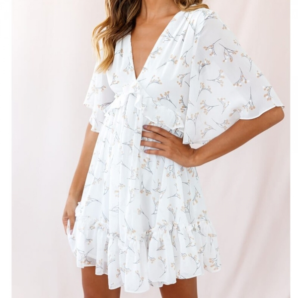 Tosheiny 19 Women Summer V Neck Half Sleeve Floral Print Dresses Female Backless Mini Elegant Dress DM06