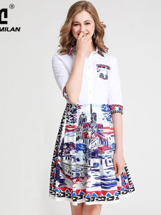 Women's Runway Dresses Turn Down Collar Half Sleeves Printed Fashion High Street Casual Dresses
